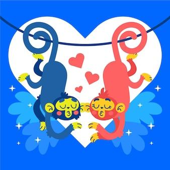 Couple d'animaux de la saint-valentin avec des singes