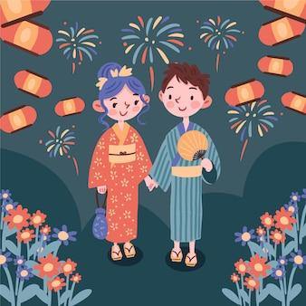 Couple appréciant le festival d'été japonais de matsuri