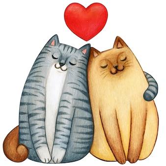 Couple aquarelle de chats qui s'aiment avec coeur