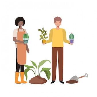 Couple avec arbres pour planter un personnage d'avatar