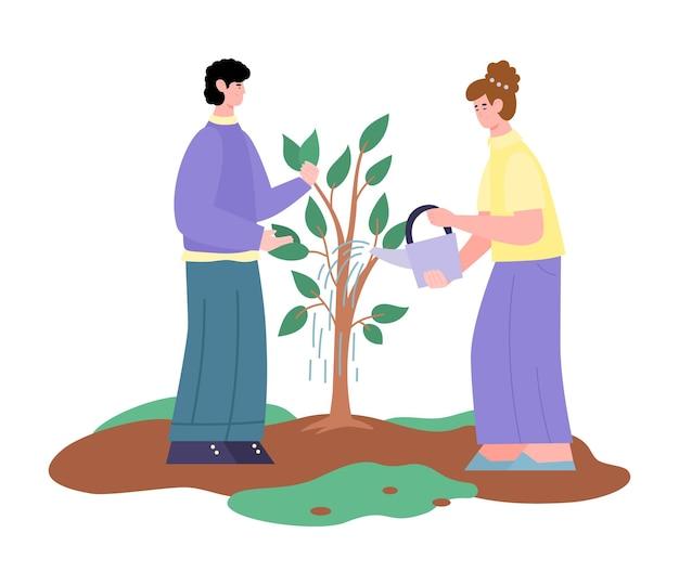 Couple, arrosage, arbre croissant, dessin animé, isolé, blanc