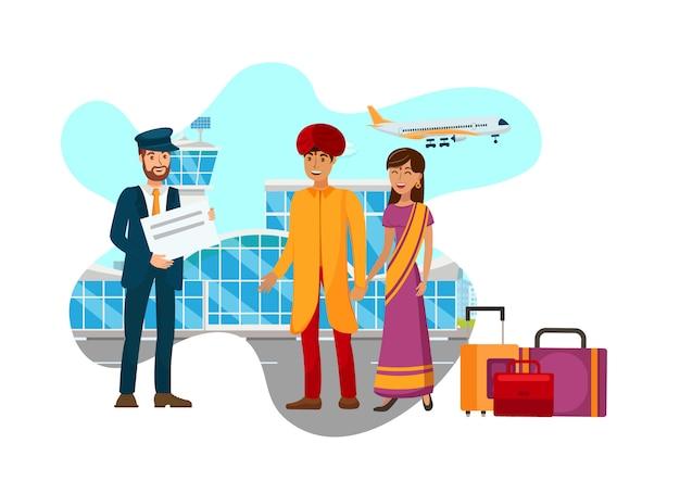 Couple asiatique, arrivant, aéroport, plat, illustration