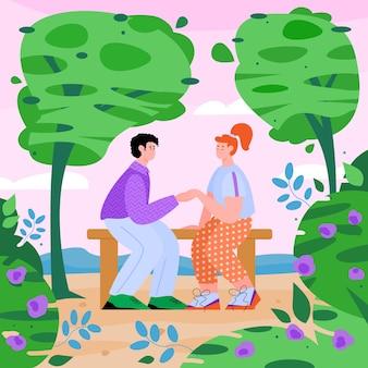 Couple assis sur un banc dans le dessin animé plat du parc de printemps