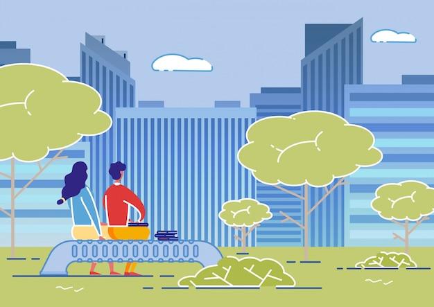 Couple Assis Sur Un Banc Dans Le Parc En Face De Hauts Bâtiments Vecteur Premium