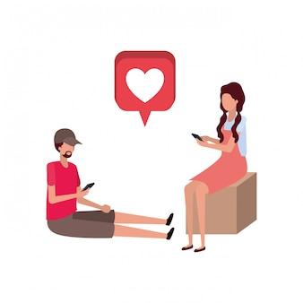 Couple assis avec coeurs personnage avatar