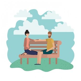 Couple assis en personnage de chaise de parc avatar