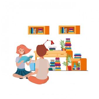 Couple assis avec une pile de livres
