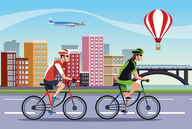 Couple, athlètes, bicyclette, caractères, illustration