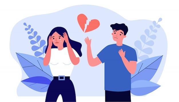 Couple au cœur brisé se séparant