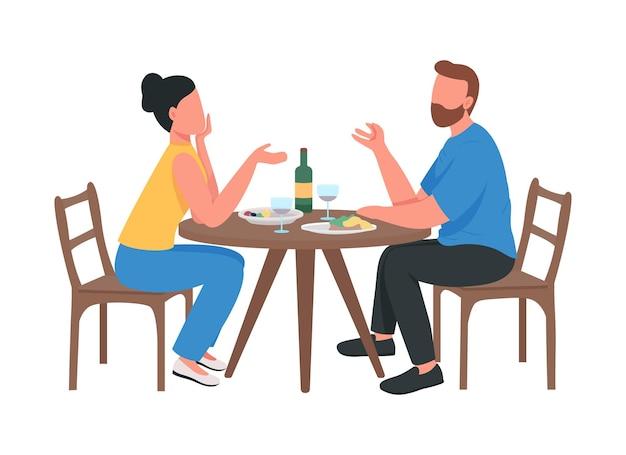 Couple au dîner romantique personnages vectoriels de couleur semi-plat