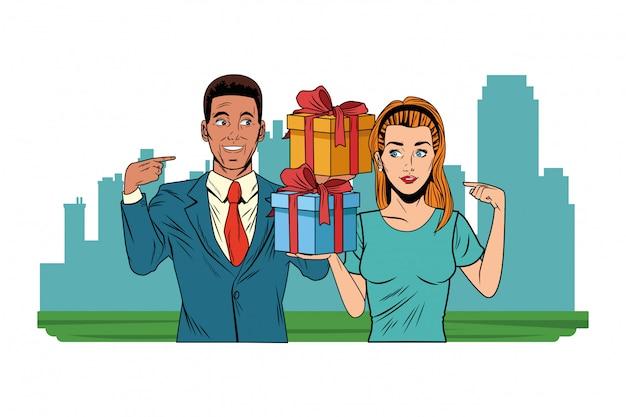 Couple avatar avec boîte cadeau pop art