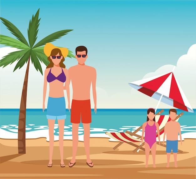 Couple d'avatar et enfants à la plage, design coloré