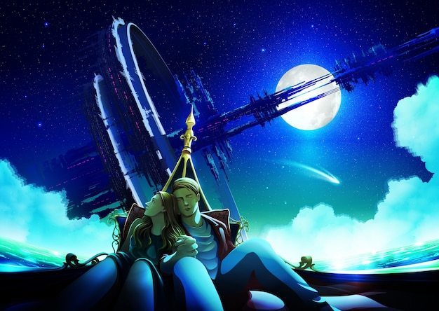 Couple ayant du temps ensemble dans un bateau la nuit avec la structure futuriste massive