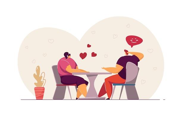 Couple ayant rendez-vous au café. des jeunes affectueux en train de dîner et de parler. amoureux mignons flirtant, célébrant la saint-valentin ou des vacances. concept d'amour pour la conception de sites web