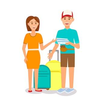 Couple avec bagages isolé sur fond blanc.
