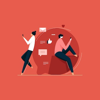 Couple bavardant sur mobile, application de rencontre et relation virtuelle