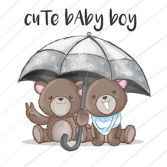 Couple bébé ours dessiné à la main