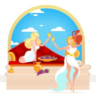 Couple de belles jeunes femmes aux cheveux blonds