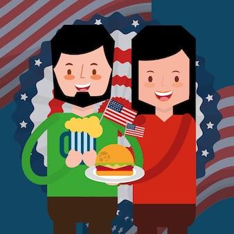 Couple avec de la bière et burger