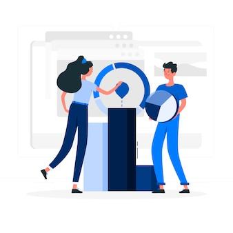 Couple bleu avec style plat de statistiques