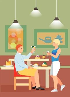 Couple, boire, cocktails, plat, illustration vectorielle