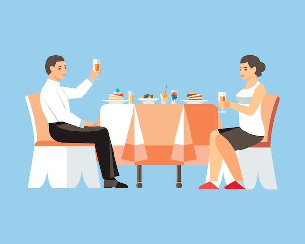 Couple, boire, vin, plat, illustration vectorielle