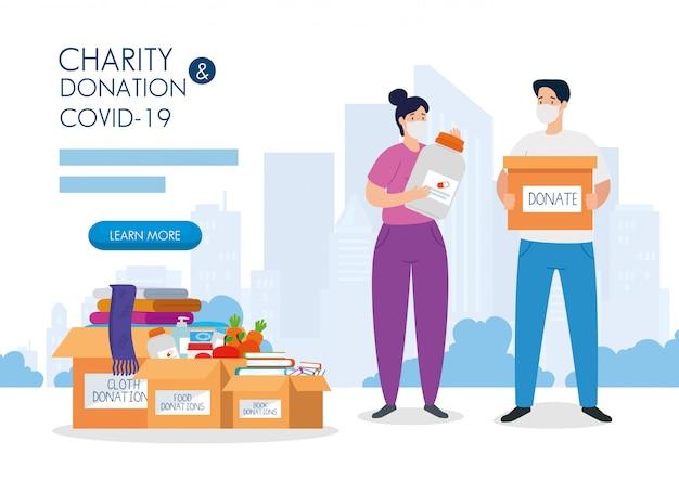 Couple avec des boîtes de dons en carton, soins sociaux, pendant le coronavirus