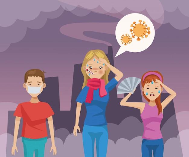 Couple, à, bouche, chapeau, protection, pollution, et, girl, malade