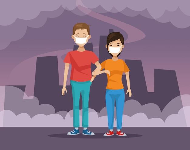 Couple, à, bouche, chapeau, protection, pollution