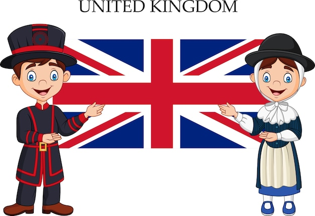 Couple britannique dessin animé portant un costume traditionnel
