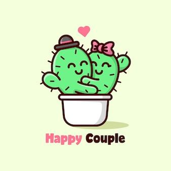 Couple de cactus mignon s'enlassant et se sentir lovely