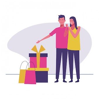 Couple avec des cadeaux et des sacs à provisions