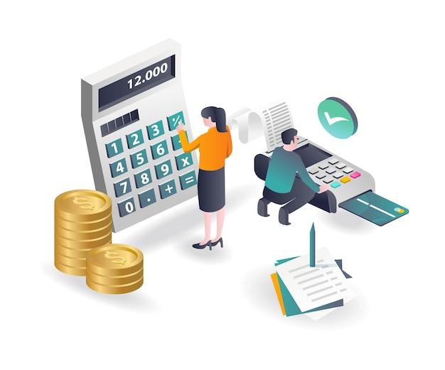 Un couple calcule les paiements et le revenu avec des notes
