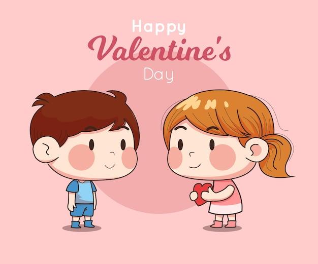Couple de caractères enfants mignons à la saint-valentin