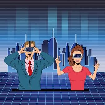 Couple avec casque de réalité virtuelle