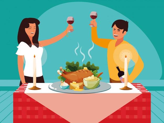 Couple célébrant le jour de thanksgiving