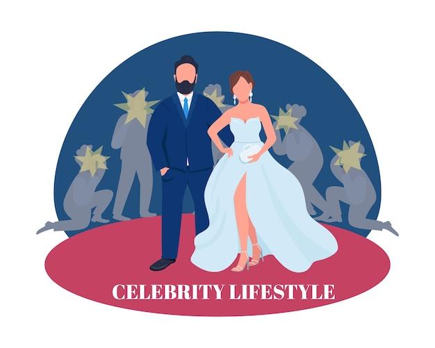 Couple de célébrités sur la bannière web 2d tapis rouge, affiche. expression de style de vie de célébrité. personnages plats sur fond de dessin animé. patch imprimable de l'industrie du divertissement, élément web coloré