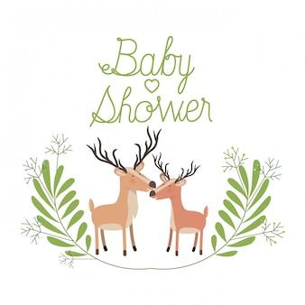 Couple de cerfs mignon avec carte de douche de bébé guirlande