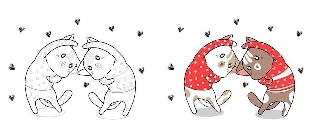 Couple chat agissent avec coeur coloriage de dessin animé