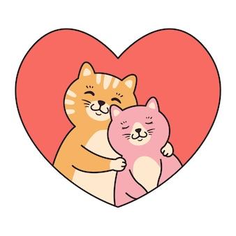 Couple de chat amoureux câlin. cartes de voeux pour la saint valentin, anniversaire, fête des mères.