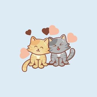 Couple chat amoureux