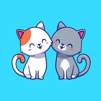 Couple, de, chat, dessin animé, illustration
