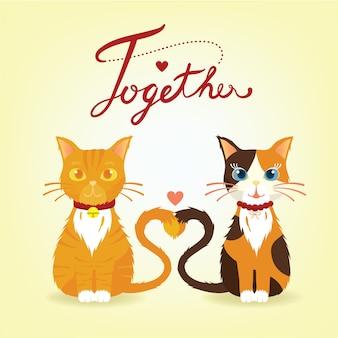 Couple de chat doux assis ensemble