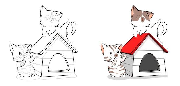 Couple chat mignon dans la page de coloriage de dessin animé de maison