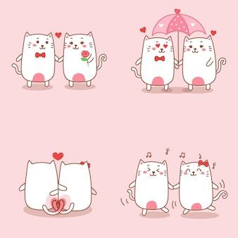 Couple de chat mignon tombant amoureux dessin animé dessiné à la main pour la saint-valentin.