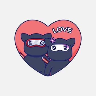 Couple de chat ninja mignon le jour de la saint-valentin
