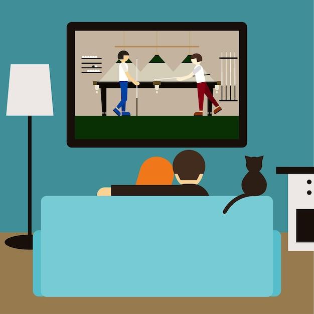 Couple et chat regardant ensemble la piscine à la télévision assis sur le canapé dans la chambre. illustration de style plat à la mode pour une utilisation dans une carte de conception, une invitation, une affiche, une bannière, une pancarte, une couverture de panneau d'affichage
