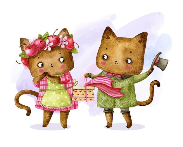 Couple de chat saint valentin en vêtements avec cadeau
