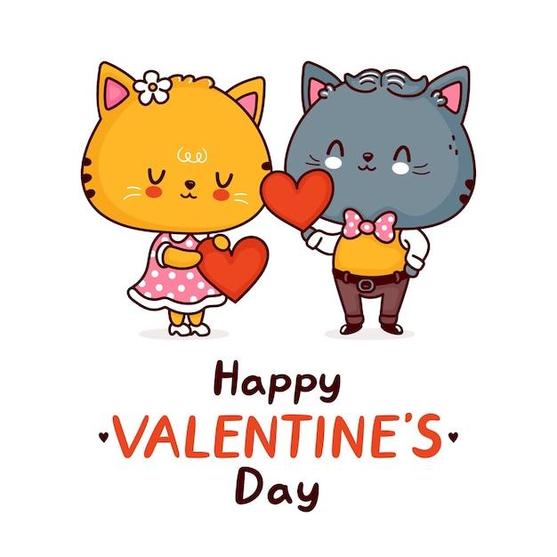 Couple de chats drôles mignons avec des coeurs. joyeuse saint valentin
