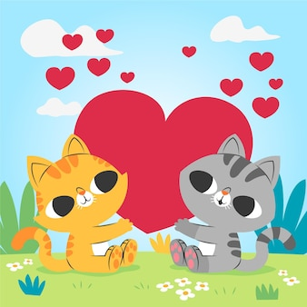Couple de chats mignon saint valentin